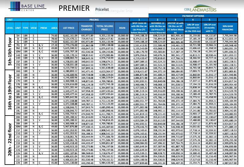 Baseline premier price 1 jan